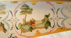 Clavecin d'après Grimaldi: détail du couvercle (extérieur). Anne-Ian-Tucker