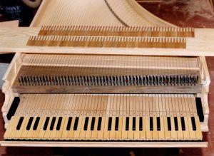 20_Détail de la mécanique : le clavier, les sautereaux, et les registres en place sous les cordes. Anne & Ian Tucker.